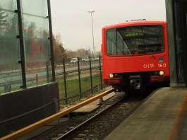 Old style metro arriving. Destination Vuosaari